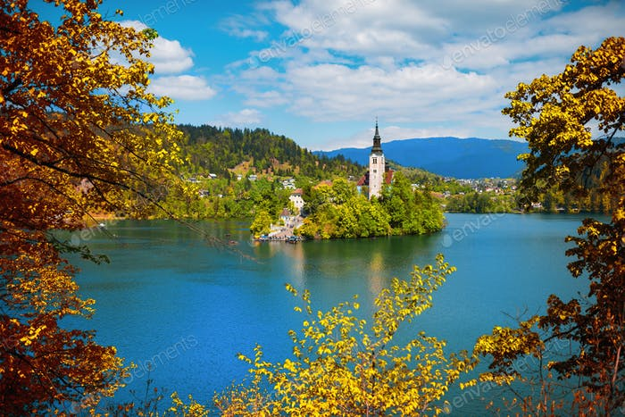 Bled lake autumn panorama
