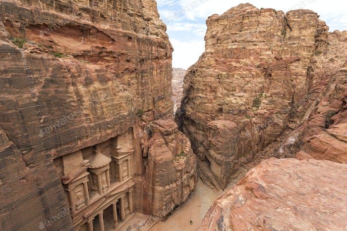 Rock-cut architecture of Al Khazneh or The Treasury at Petra
