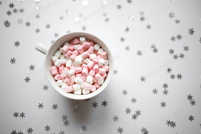 large white cup with marshmallows top view