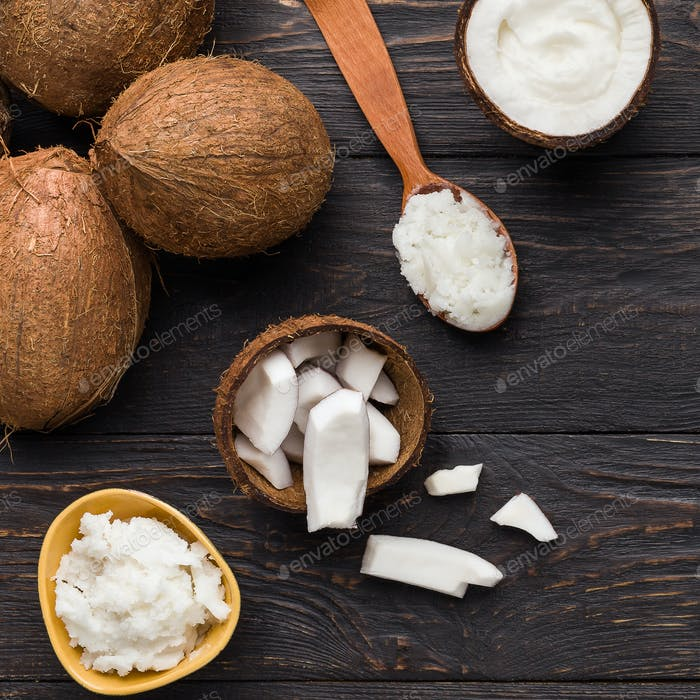 Organic coconut in culinary concept