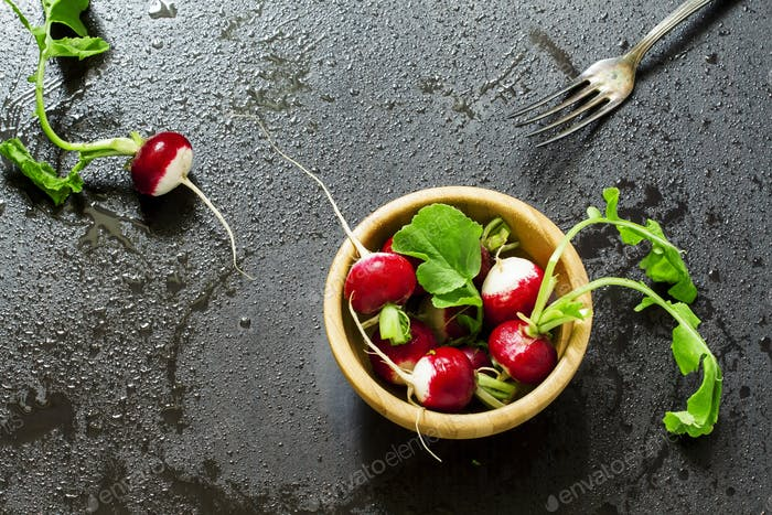 radishes with water drops