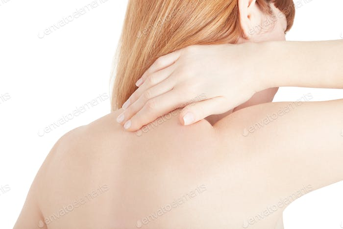 Young woman holding hand on painful neck isolated on white, clip