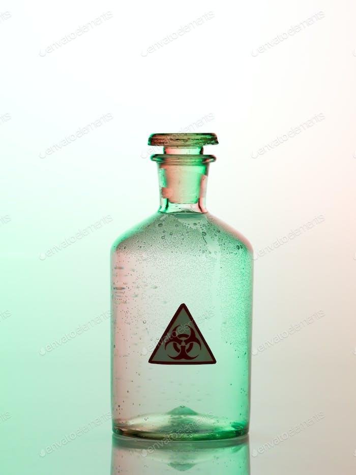 biohazard bottle with green light
