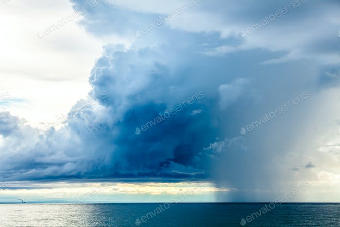 Rain Clouds at the Sea Horizon