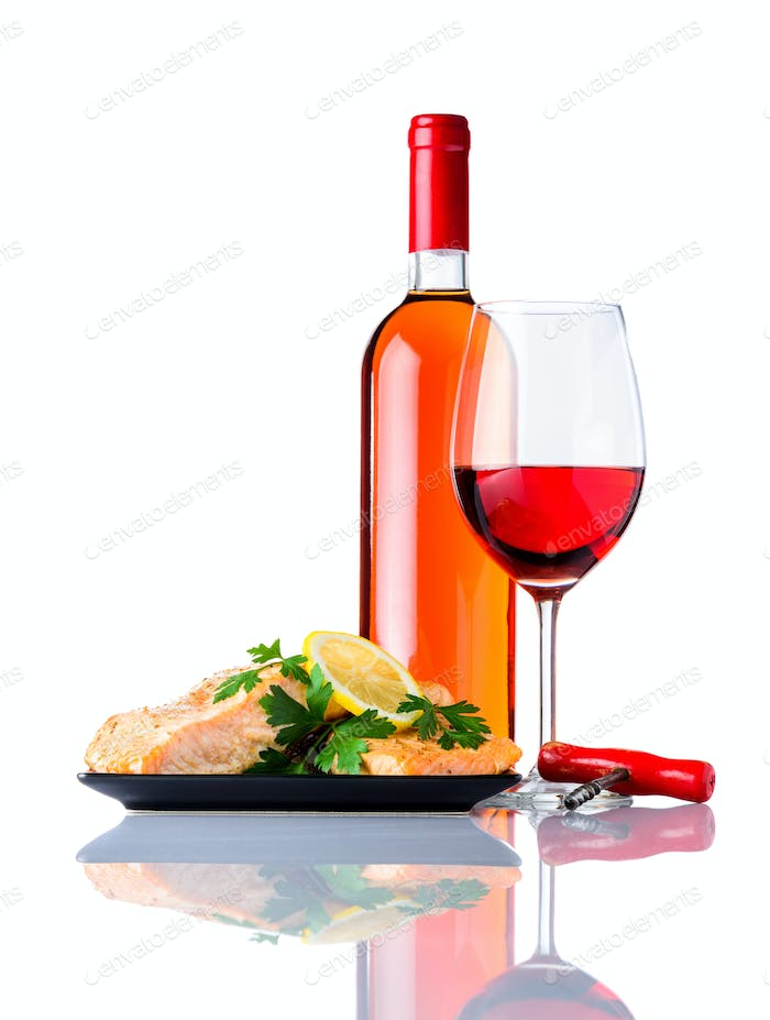 Cooked Fish with Bottle and Glass Rose Wine on White Background