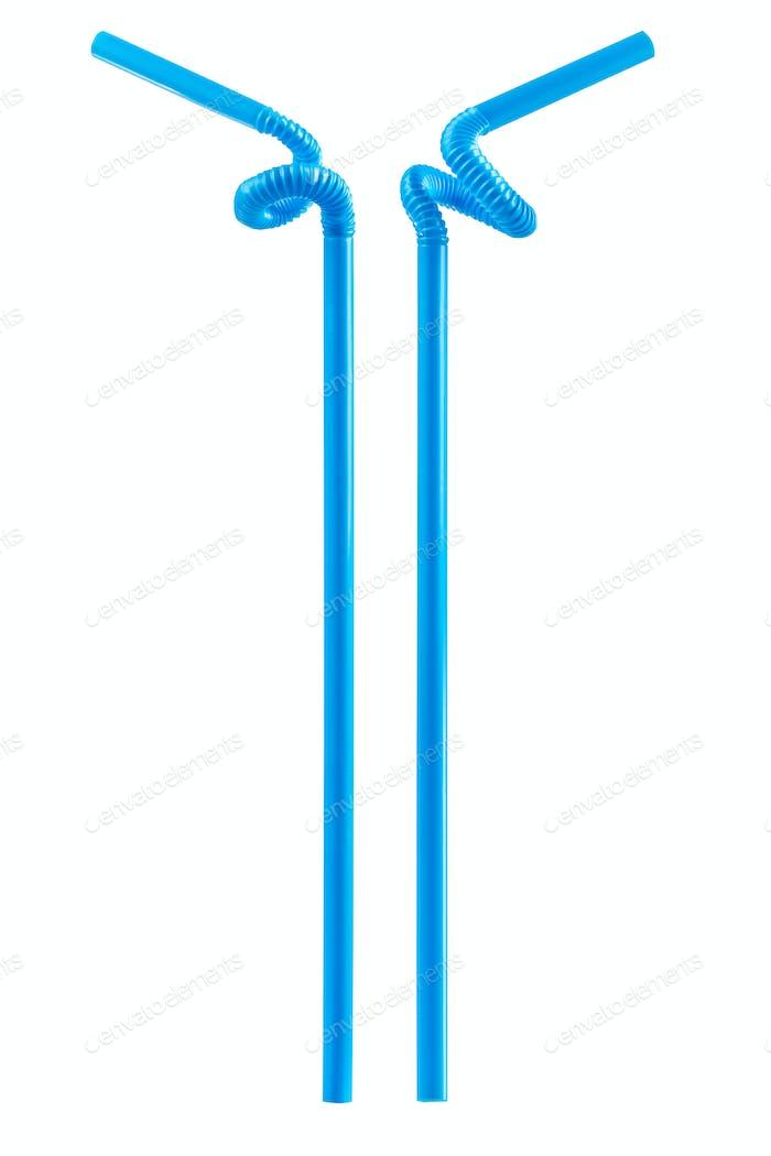 blaues Trinkhalm isoliert