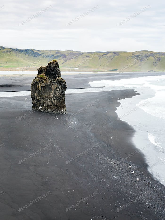 above view of volcanic stack on Kirkjufjara beach