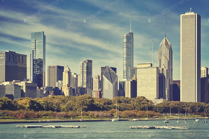 Retro toned picture of Chicago skyline, USA