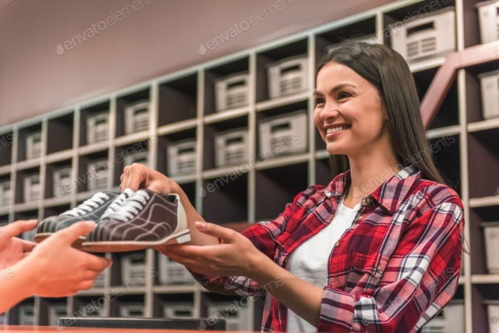 Girl with bowling shoes