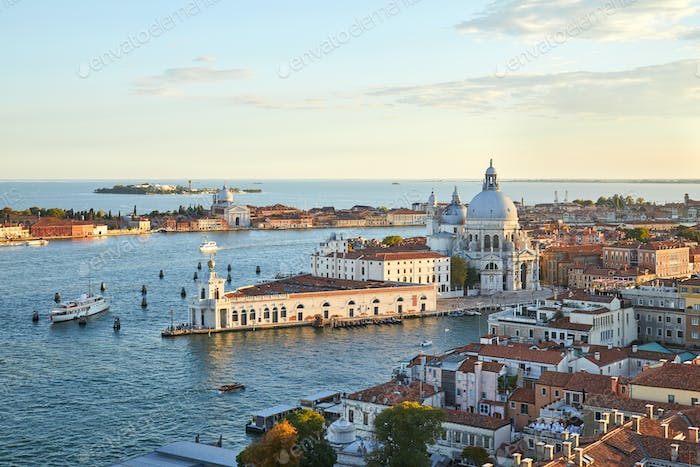 Santa Maria della Salute church aerial view in Venice before sunset, Italy