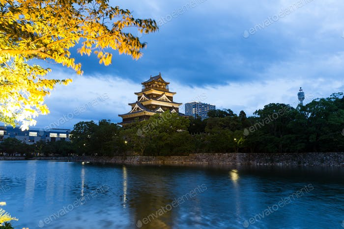 Japanese Hiroshima castle at night