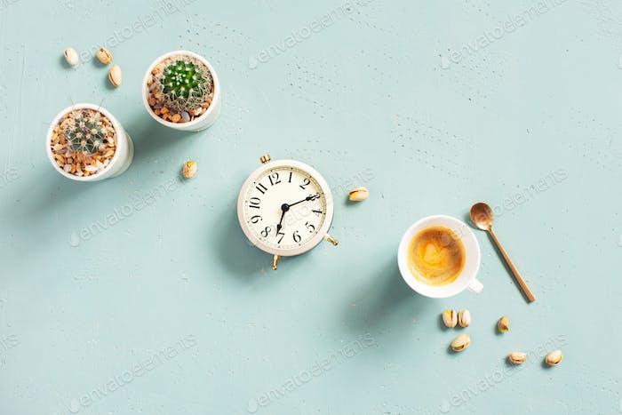 Alarm Clock and Morning Coffee