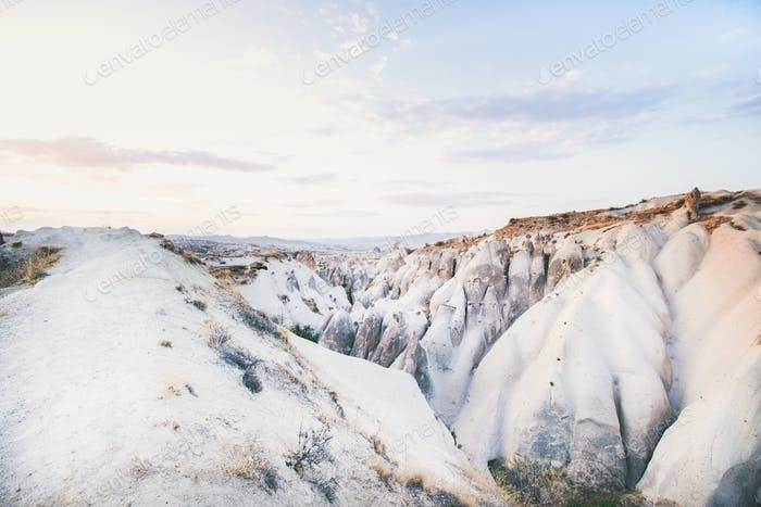Natural volcanic rocks on clear day, Cappadocia, Turkey