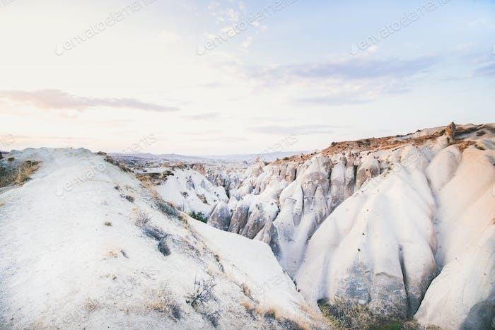 Natural volcanic rocks on clear day, Cappadocia, Turkey