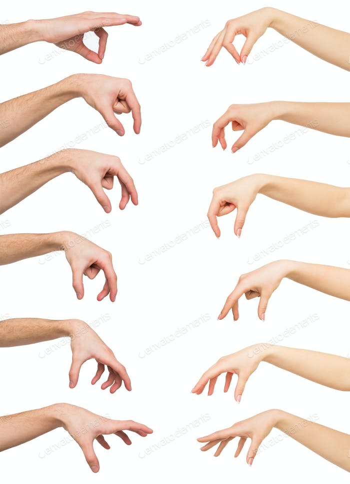 Set of white man and woman hands. Hand picking up something