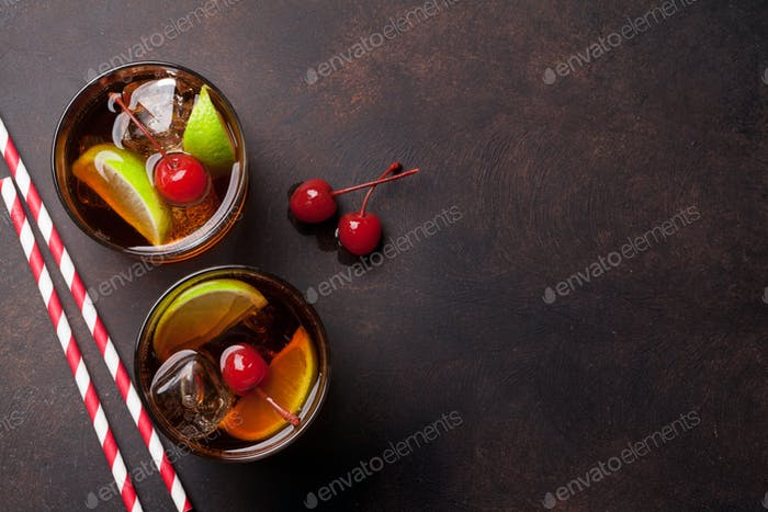 Cuba libre cocktail glasses