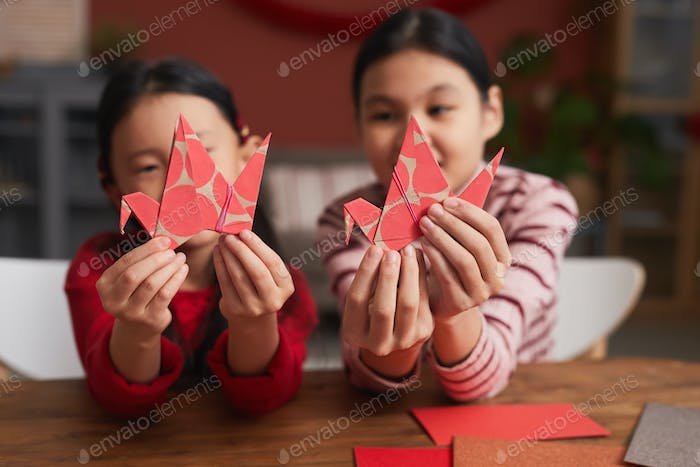 Chinese Girls With Paper Cranes