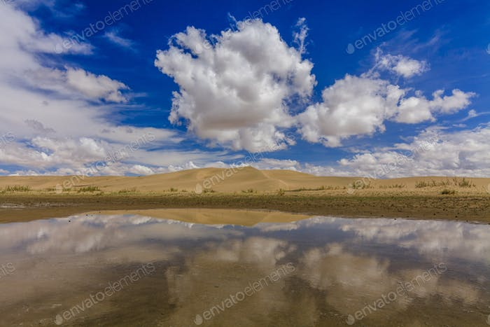 Gobi Desert after rain. Reflection of clouds in pools