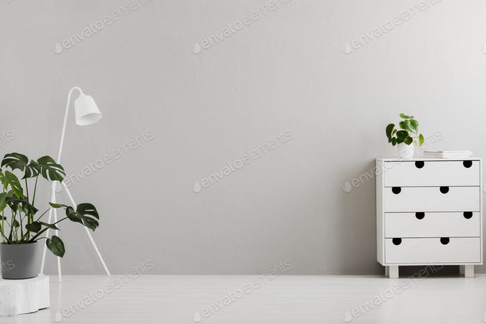 Empty gray bedroom interior with a modern dresser, an industrial