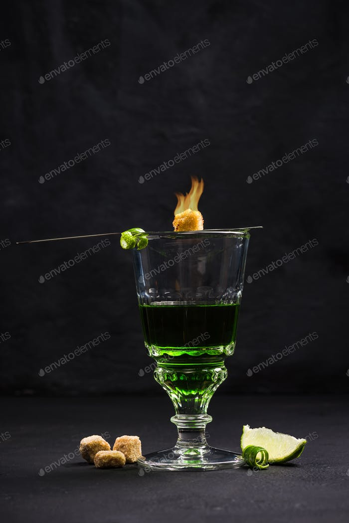 Traditional way for drinking Absinthe