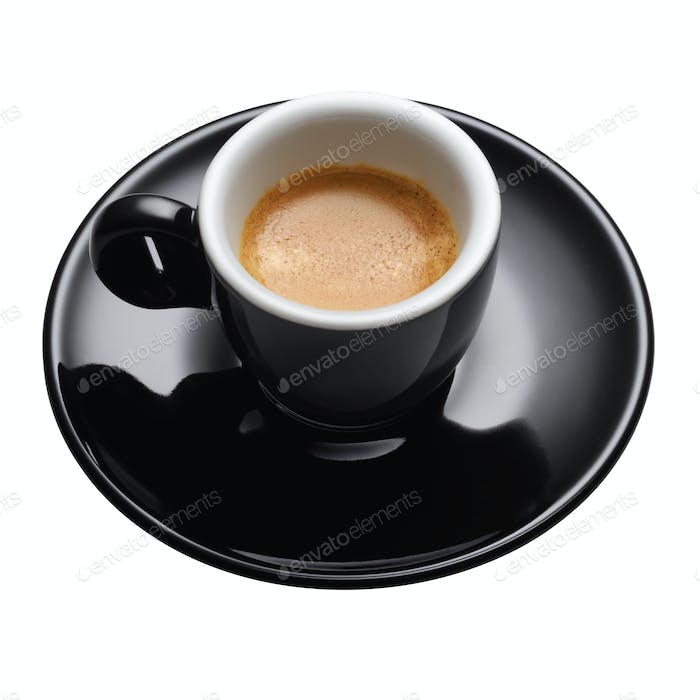 Black coffee mug with espresso isolated on white