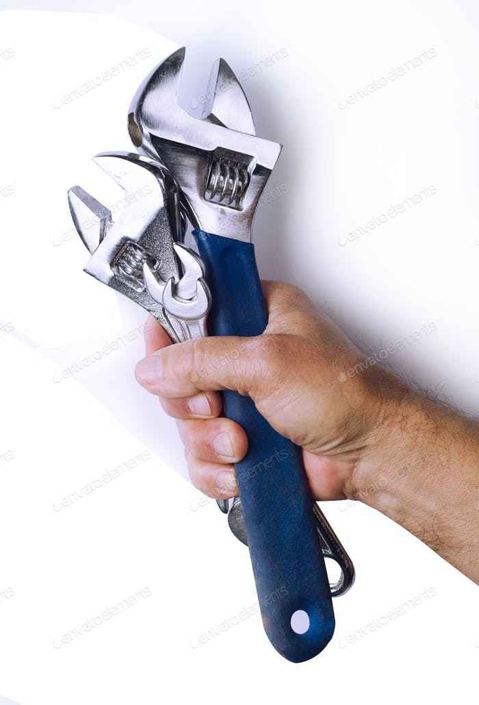 Strong hand holding tools on white background