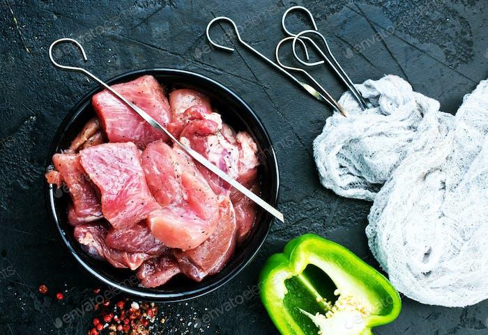 rohes Fleisch für Kebab