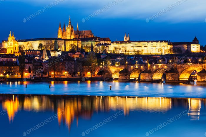 View of Charles Bridge Karluv most and Prague Castle