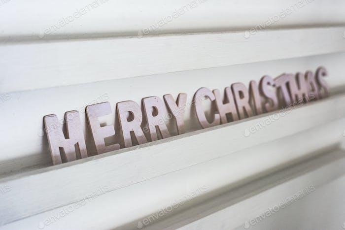 Seasonal greeting on a wall