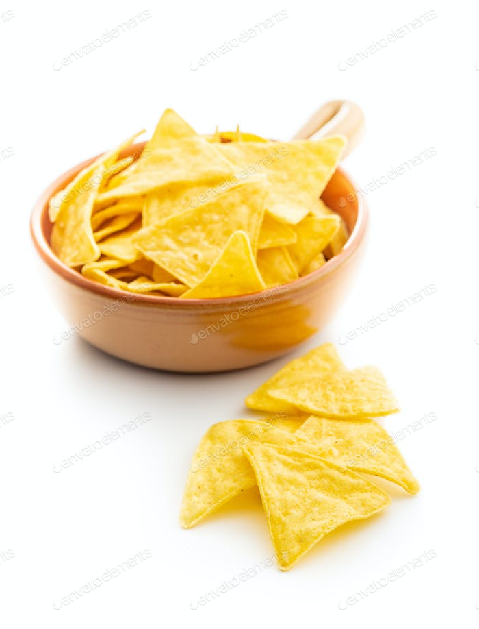 Corn nacho chips. Yellow tortilla chips in bowl.