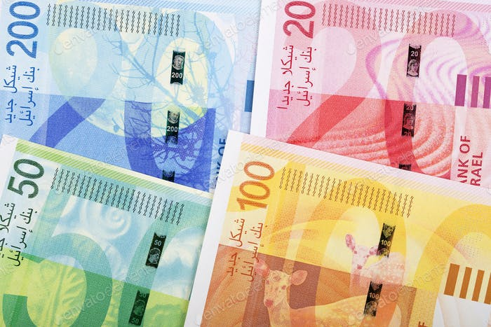 Israeli new shekels, reverse side, a background