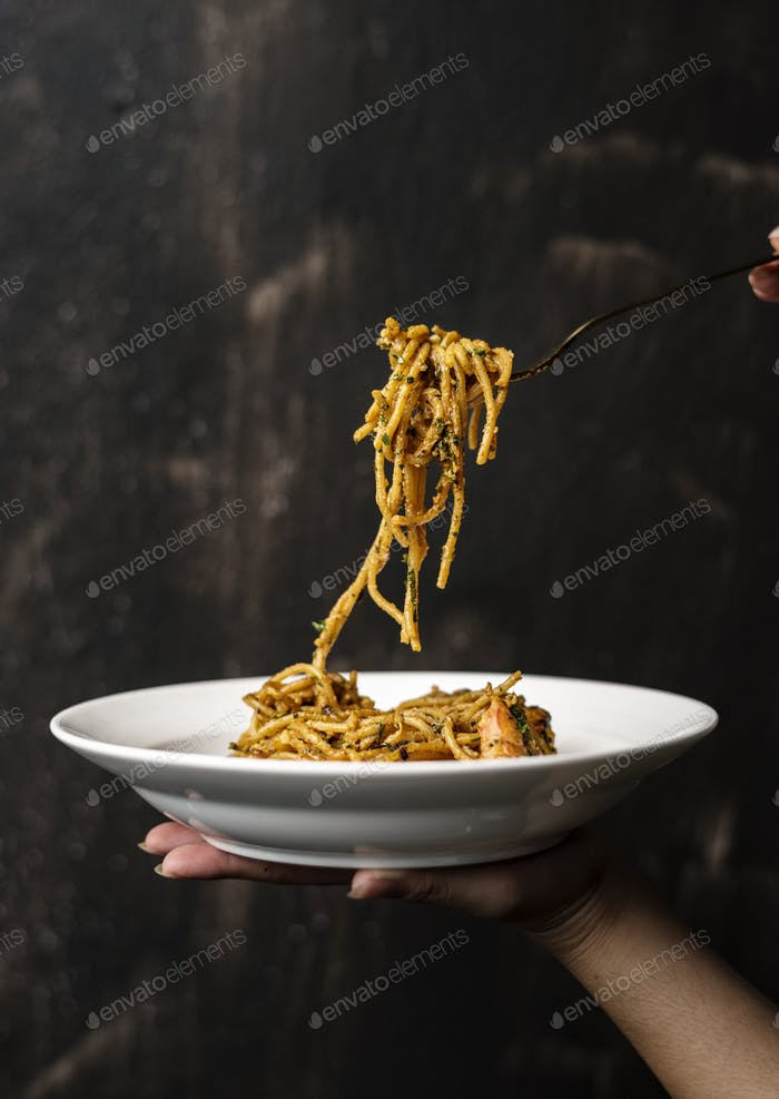 Food styling spaghetti plate closeup