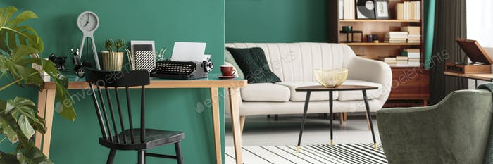 Workspace with desk and typewriter