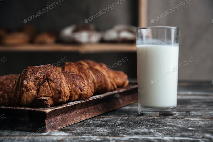 Pastries on dark wooden table