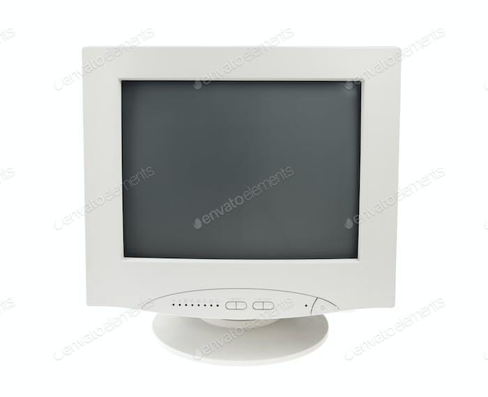 Old Crt Monitor Screen Display für PC isoliert weißen Hintergrund