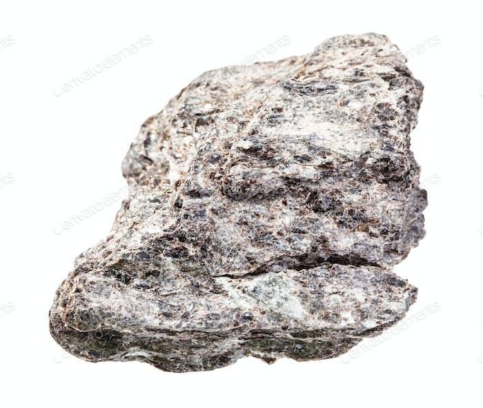 raues Quarz-Biotit-Schiefergestein isoliert auf Weiß