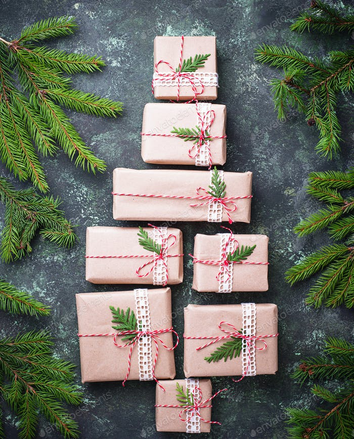 Christmas gift boxes in shape of tree