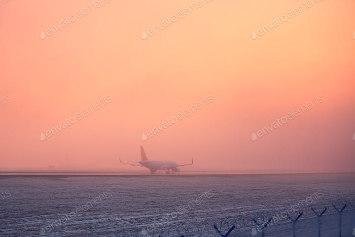 Freezing fog at the airport