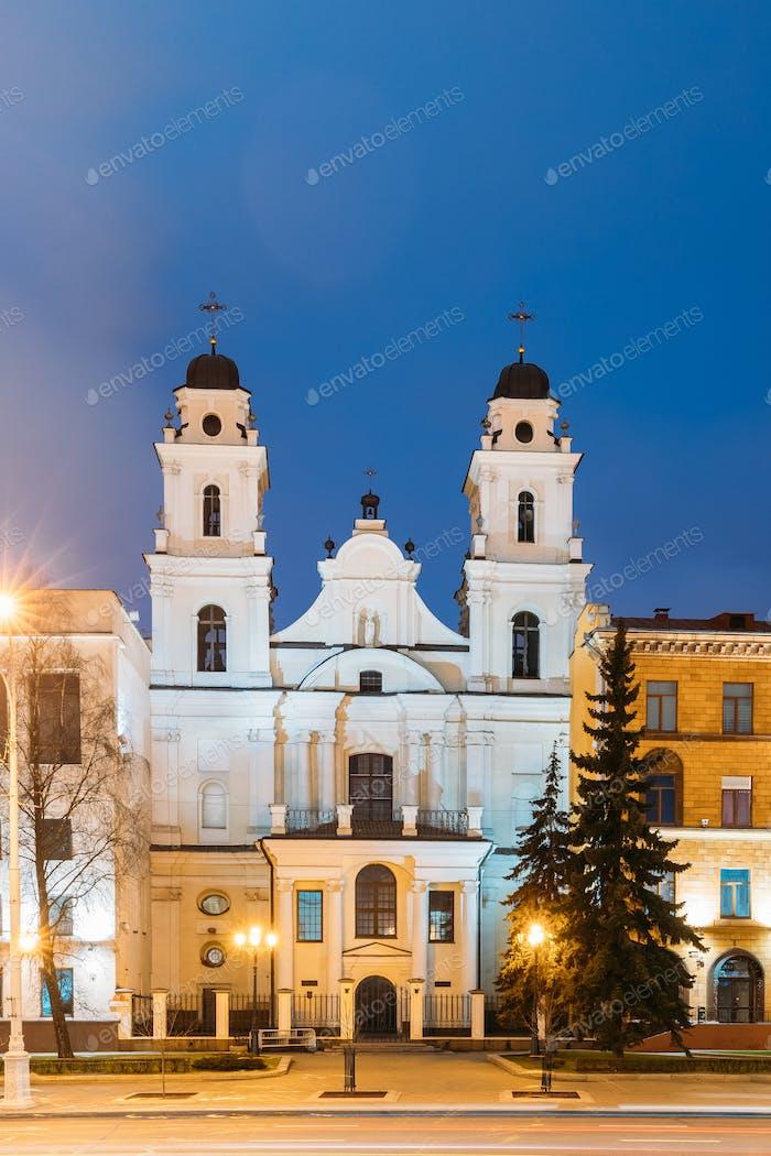 Minsk, Weißrussland. Blick auf die Kathedrale der Heiligen Jungfrau Maria in Evenin
