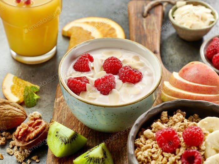 bowl of yogurt with raspberries