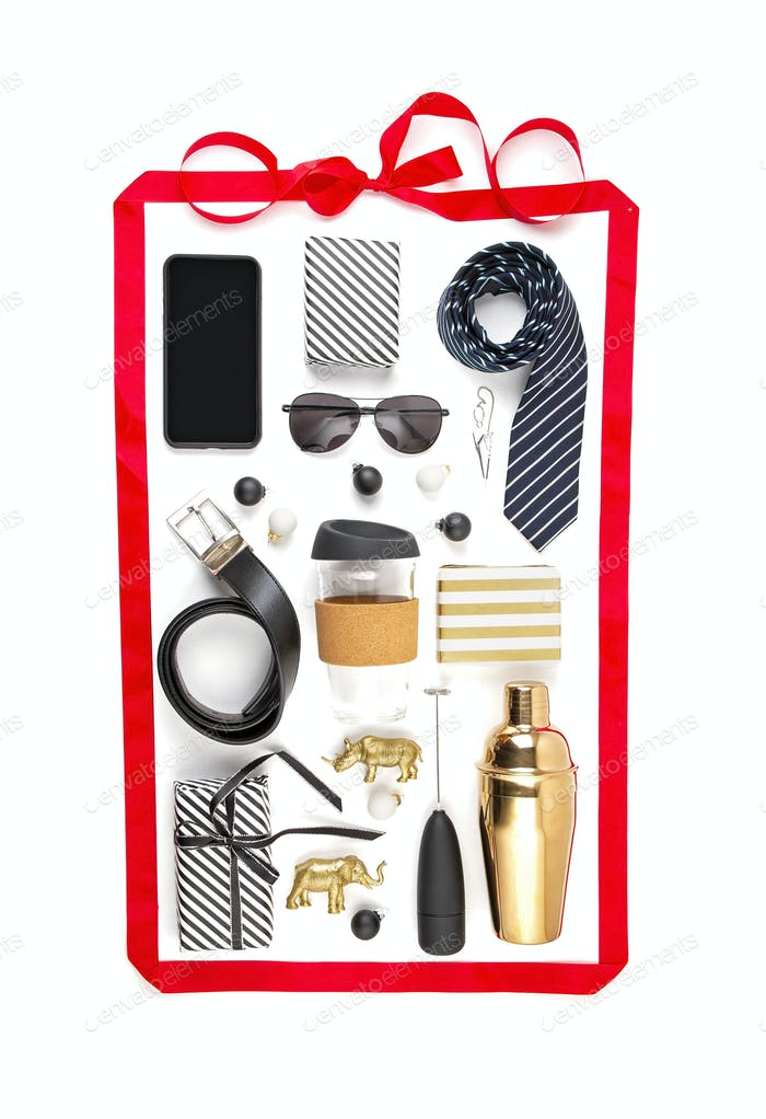 Variety of gifts for men: belt, sunglasses, tumbler, shaker, tie, accessories.