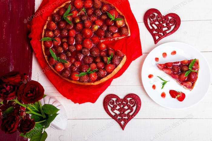 Strawberry pie on white plate