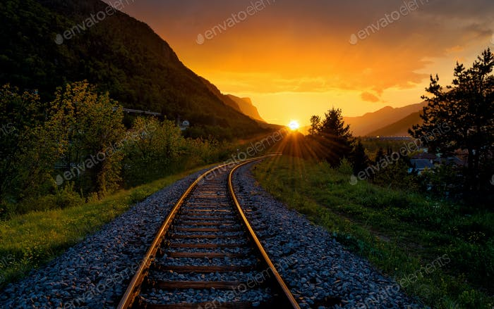 Sunset and the railway tracks