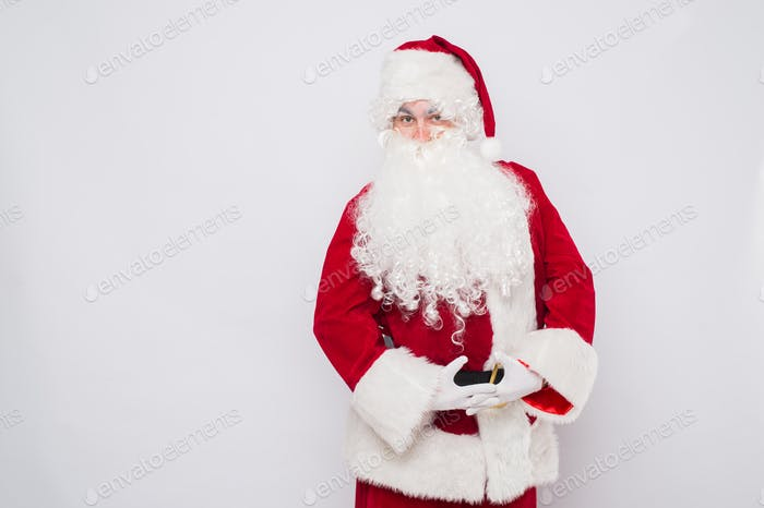 Happy Christmas Santa Claus Dancing. Isolated on white background