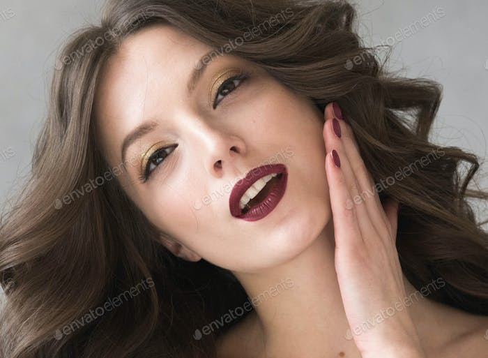 Beautiful hairstyle woman beauty hair fashion makeup red lipstick