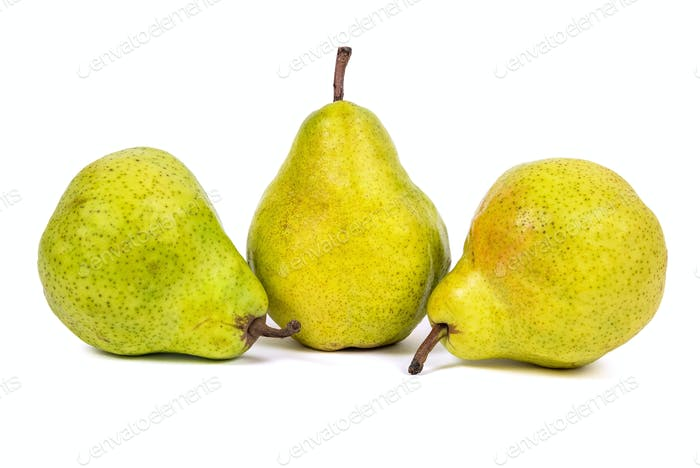Three fresh pears on white background