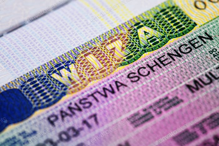 Macro photo of shengen visa