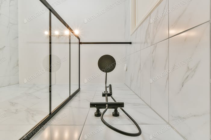 Bottom view of a shower head