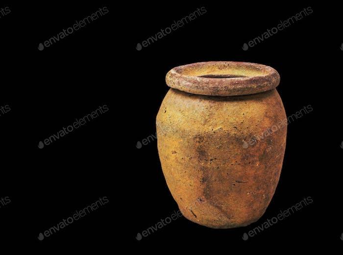 jars on black background