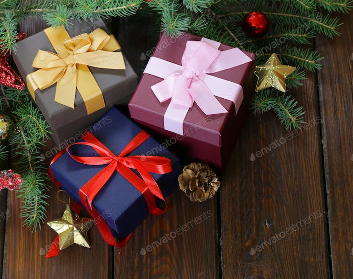 Gift Boxes With Festive Ribbons